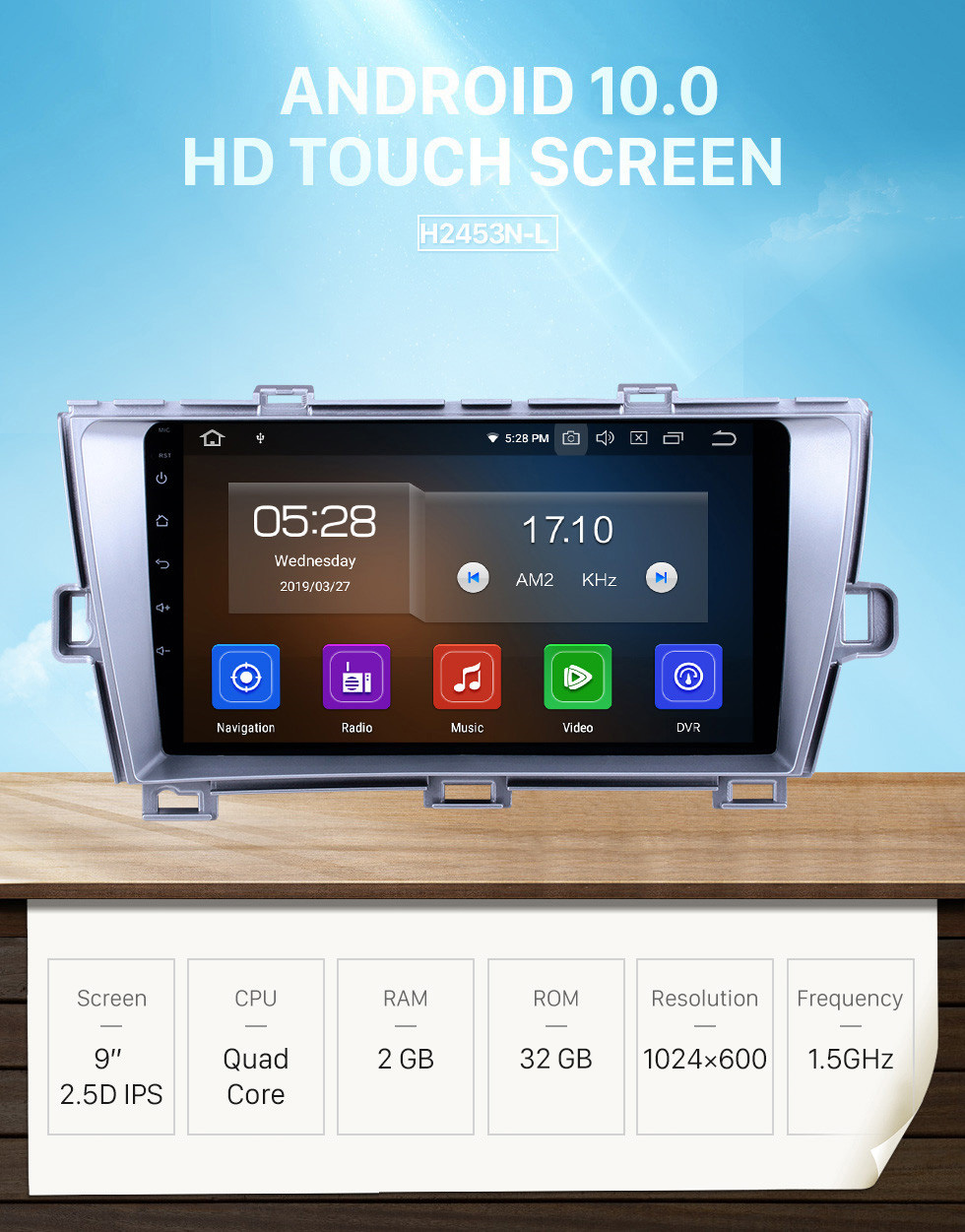 Seicane HD Touchscreen 2009-2013 Toyota Prius RHD Android 10.0 9 inch GPS Navigation Radio Bluetooth AUX USB WIFI Carplay support Rear camera