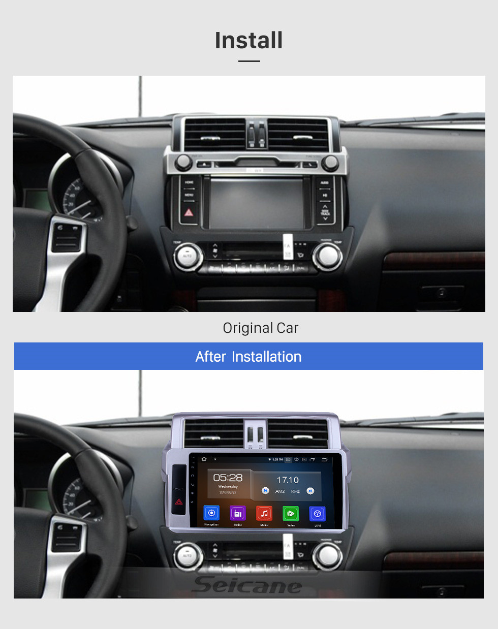 Seicane 2014 Toyota Prado 10.1 inch Android 10.0 HD Touchscreen Bluetooth Radio with GPS Navigation Carplay support Steering Wheel Control