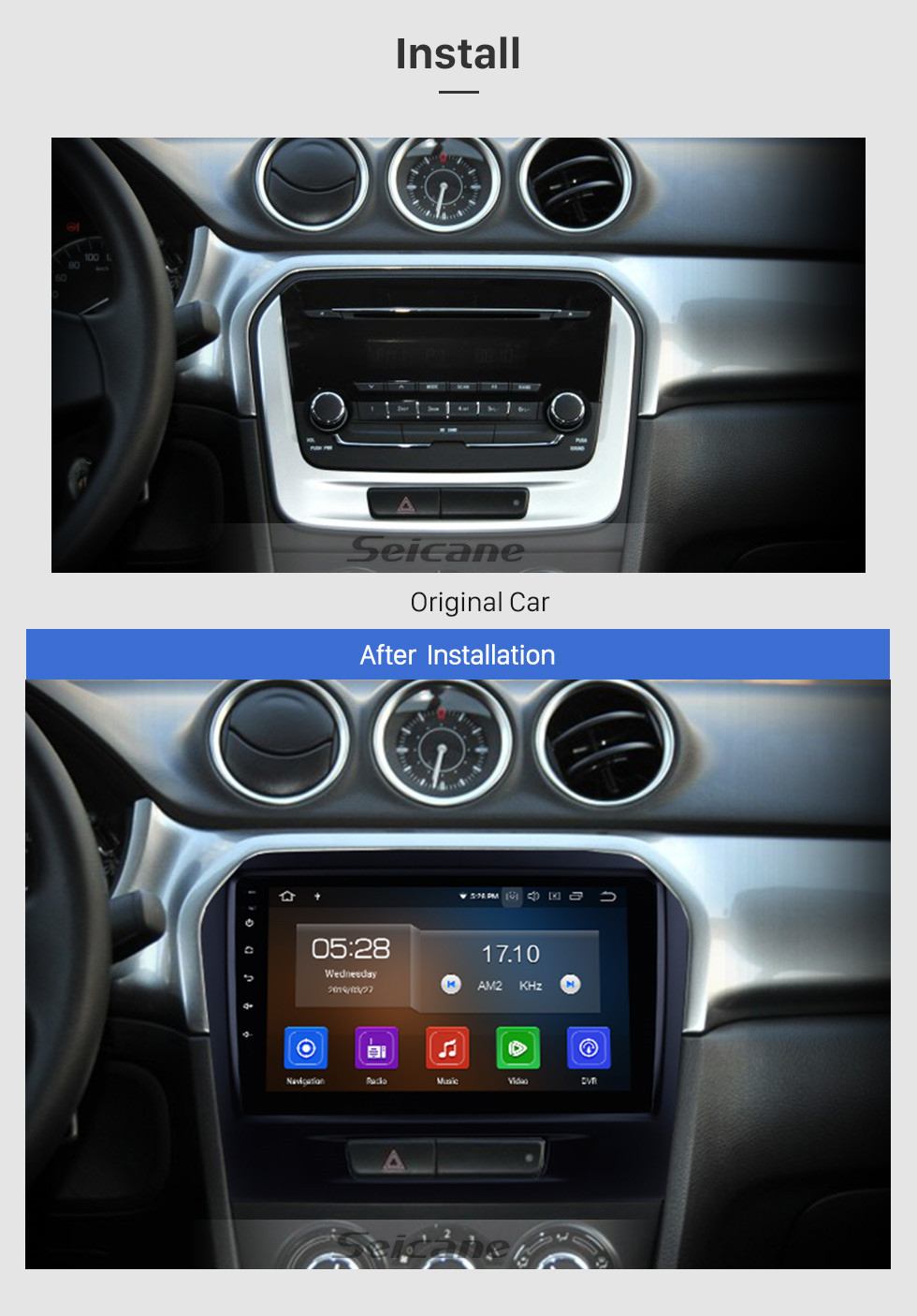 Seicane Android 10.0 2015 2016 SUZUKI GRAND VITARA Radio Replacement Navigation System 9 Inch Touch Screen Bluetooth MP3 Mirror Link OBD2 3G WiFi Steering Wheel Control