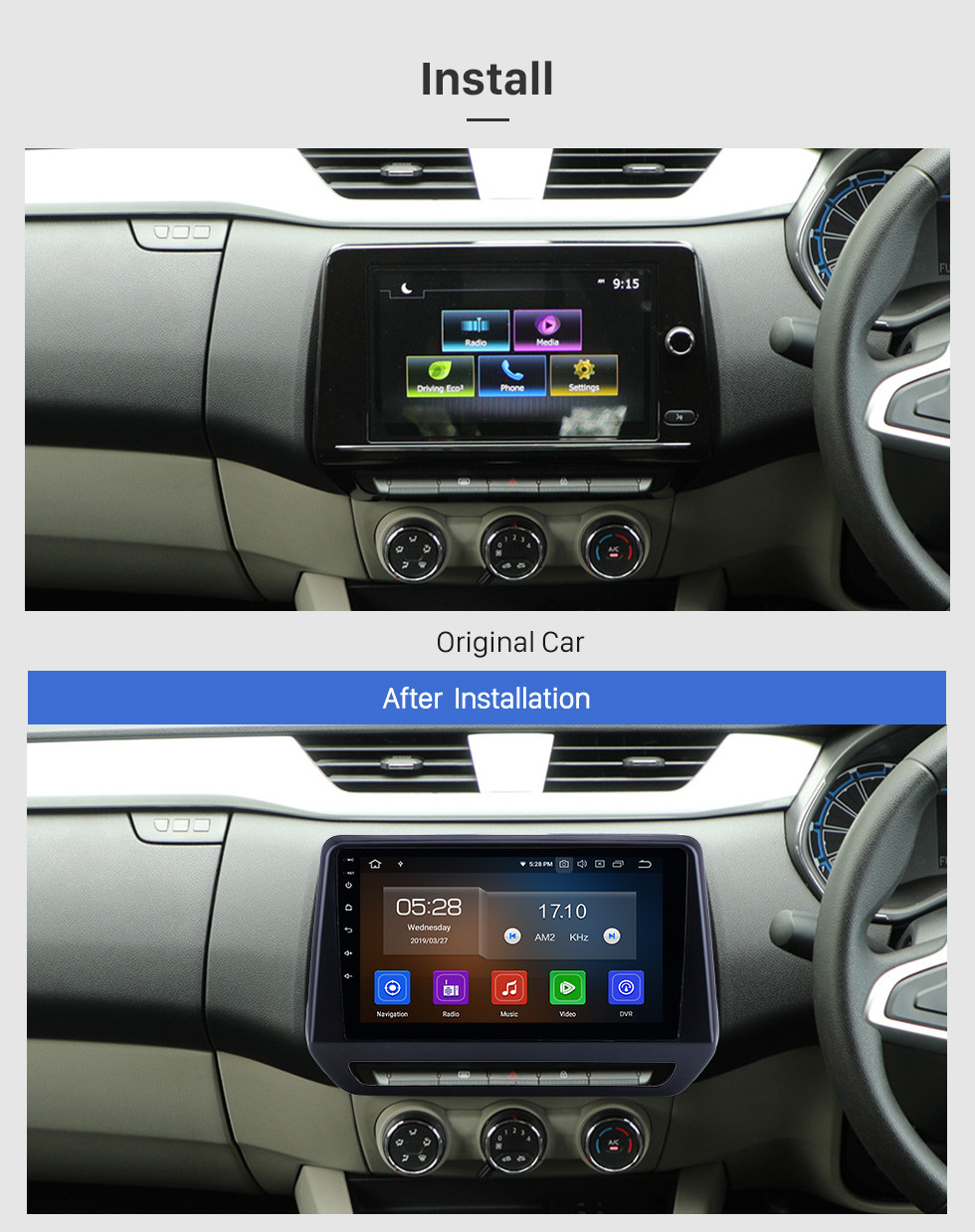 Seicane HD Touchscreen For 2019 Renault Triber Radio Android 10.0 9 inch GPS Navigation Bluetooth AUX Carplay support TPMS Backup camera