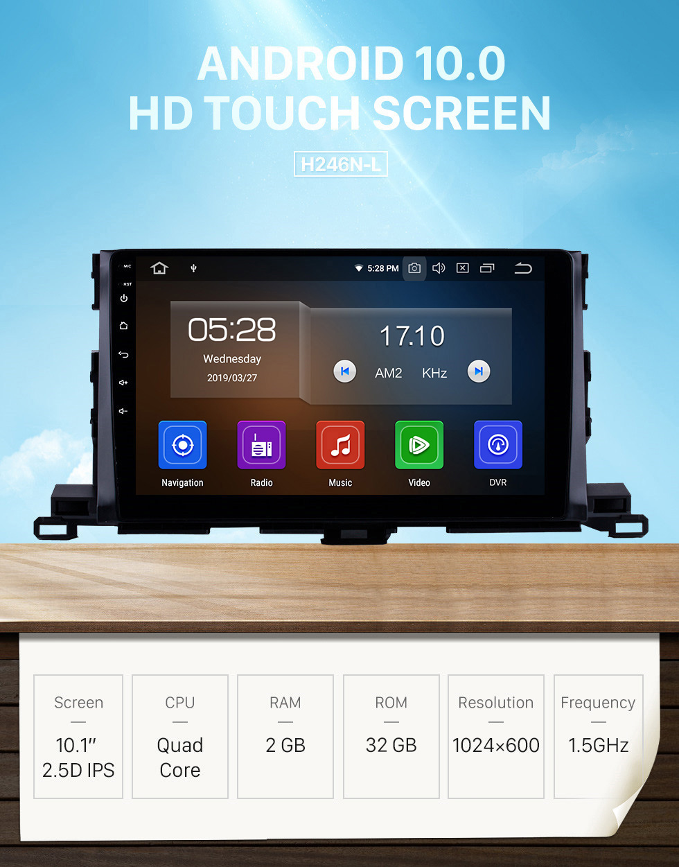 Seicane 10.1 Inch Android 10.0 GPS Navigation System For 2015 Toyota Highlander Bluetooth Touch Screen Radio support TPMS DVR OBD Mirror Link Backup Camera TV Video 3G WiFi