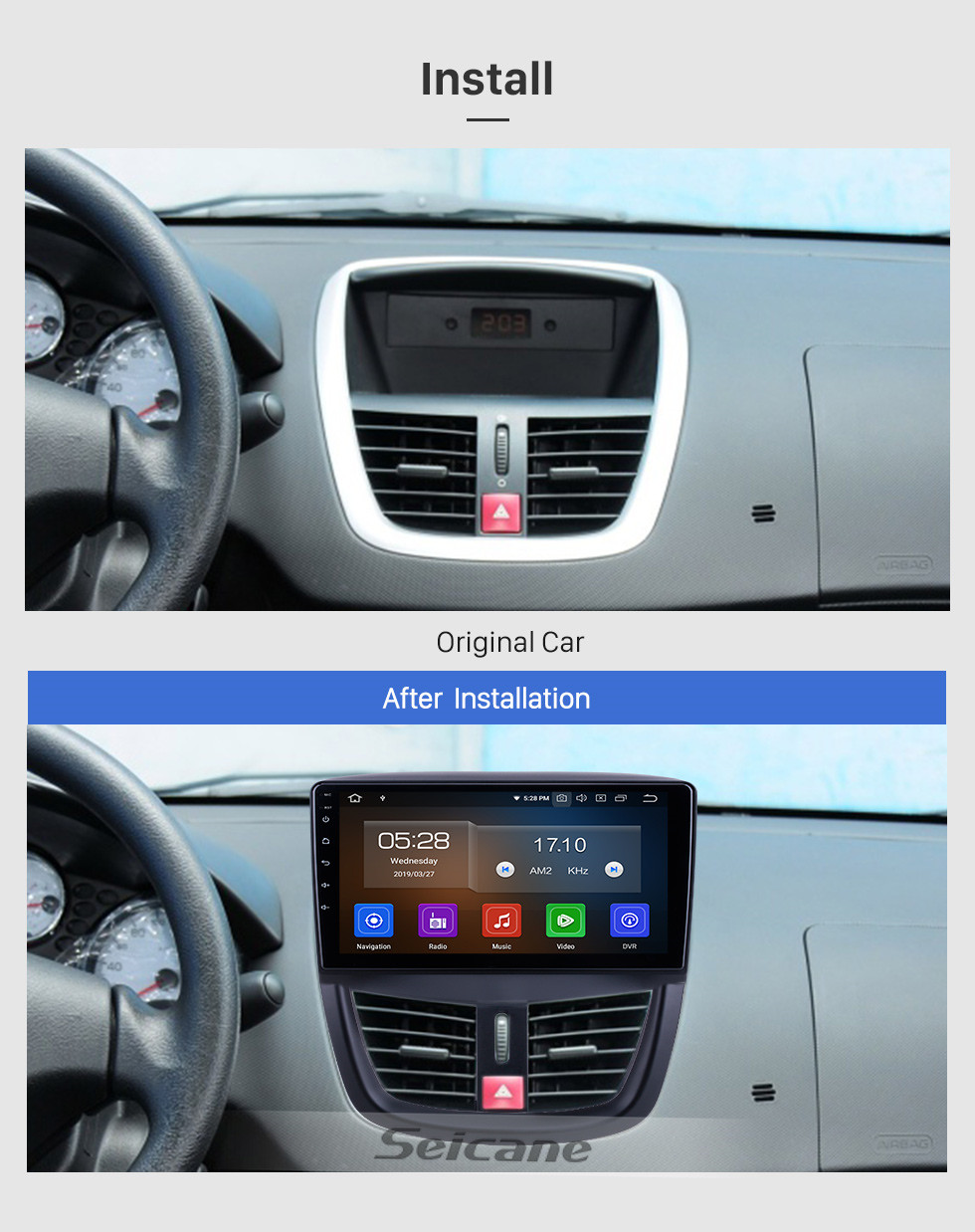 Seicane Android 10.0 for 2008-2012 2013 2014 Peugeot 207 Radio 9 inch GPS Navigation with HD Touchscreen Carplay Bluetooth support Digital TV