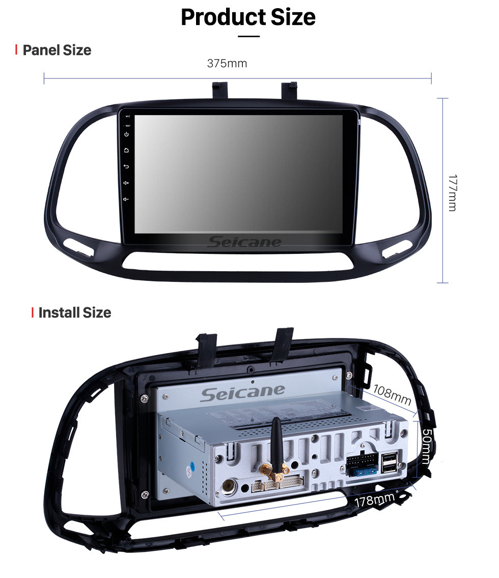Seicane Android 10.0 For 2015 2016 2017 2018 Fiat Dobe 10 Radio 9 inch GPS Navigation Bluetooth HD Touchscreen USB Carplay support DVR SWC