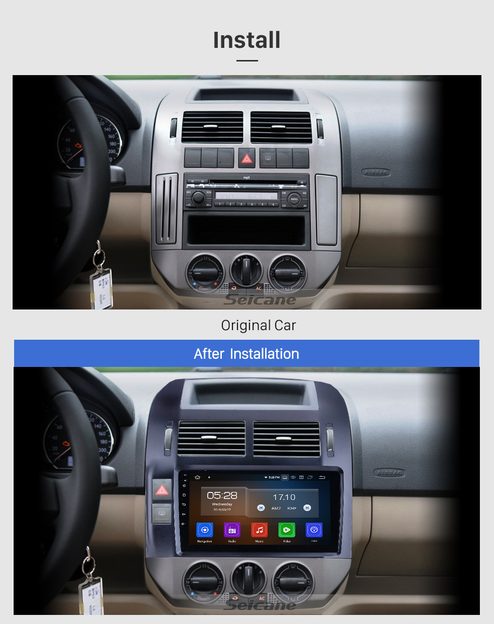Seicane Android 10.0 For 2004-2009 2010 2011 VW Volkswagen Polo Radio 9 inch GPS Navigation System Bluetooth HD Touchscreen Carplay support DVR