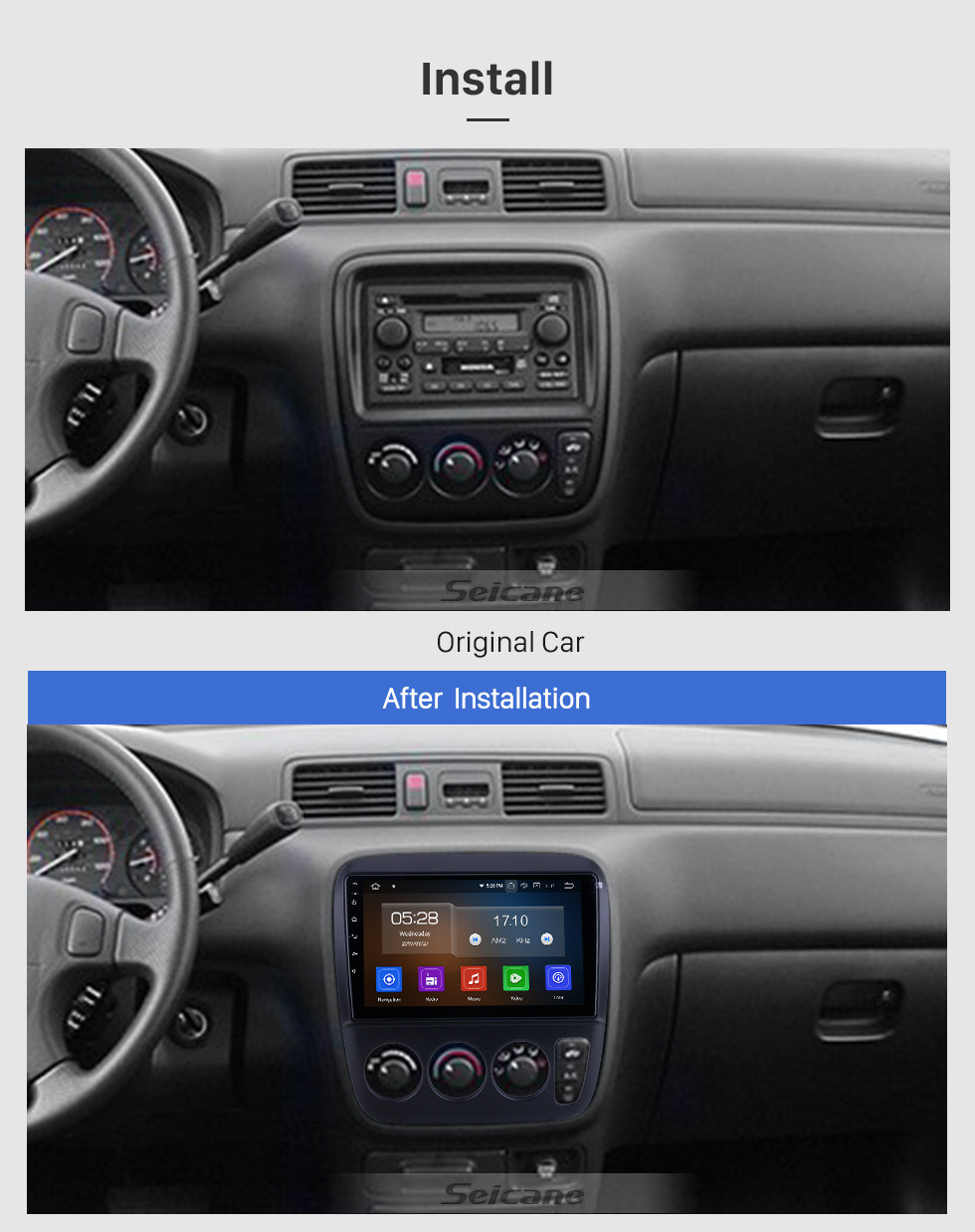 Seicane 9 inch For 1998 1999 2000 Honda CR-V Performa RHD Radio Android 10.0 GPS Navigation System Bluetooth HD Touchscreen Carplay support OBD2