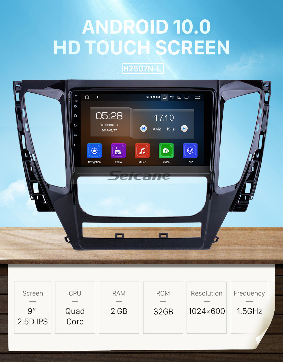 Seicane HD Touchscreen for 2015 2016 2017 Mitsubishi Pajero Sport Radio Android 10.0 9 inch GPS Navigation System Bluetooth Carplay support DAB+
