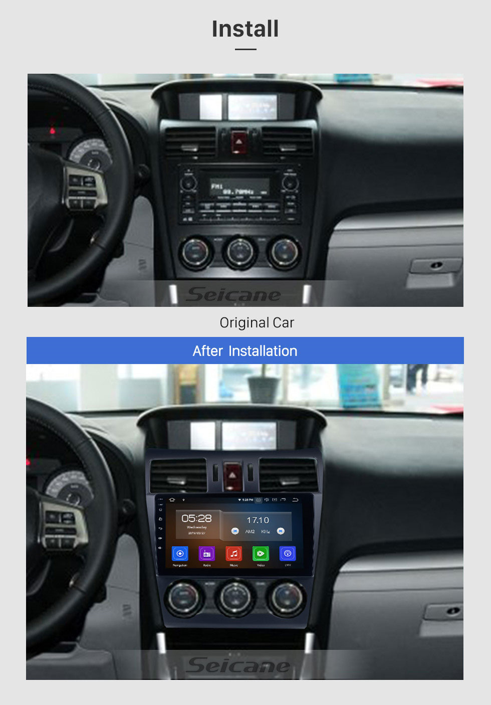 Seicane Android 10.0 9 pouces 2014 2015 2016 Subaru Forester HD Radio de navigation GPS à écran tactile avec Bluetooth USB Music Carplay WIFI support Mirror Link OBD2 DVR DAB +
