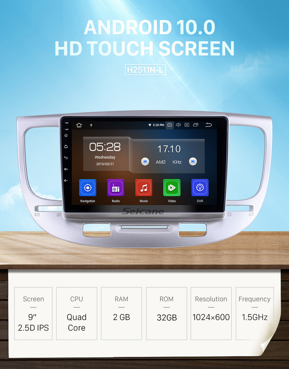Seicane OEM 9 inch Android 10.0 for 2007 Kia Rio Radio Bluetooth HD Touchscreen GPS Navigation System Carplay support DVR Steering Wheel Control