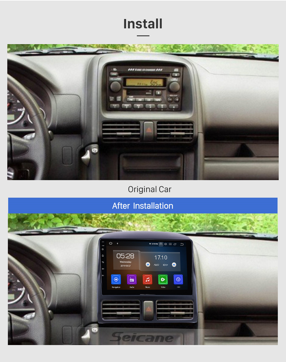 Seicane For 2002 Honda CRV Radio 9 inch Android 10.0 HD Touchscreen Bluetooth with GPS Navigation System WIFI Carplay support 1080P Video
