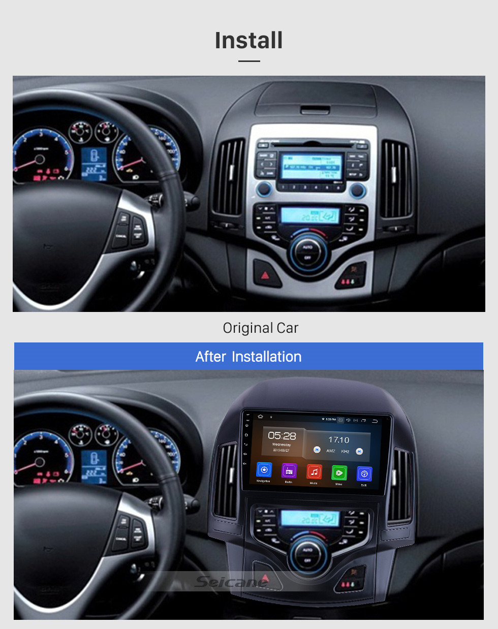 Seicane Android 10.0 For 2008 2009 2010 2011 Hyundai i30 LHD Auto A/C Radio 9 inch GPS Navigation System Bluetooth HD Touchscreen Carplay support SWC