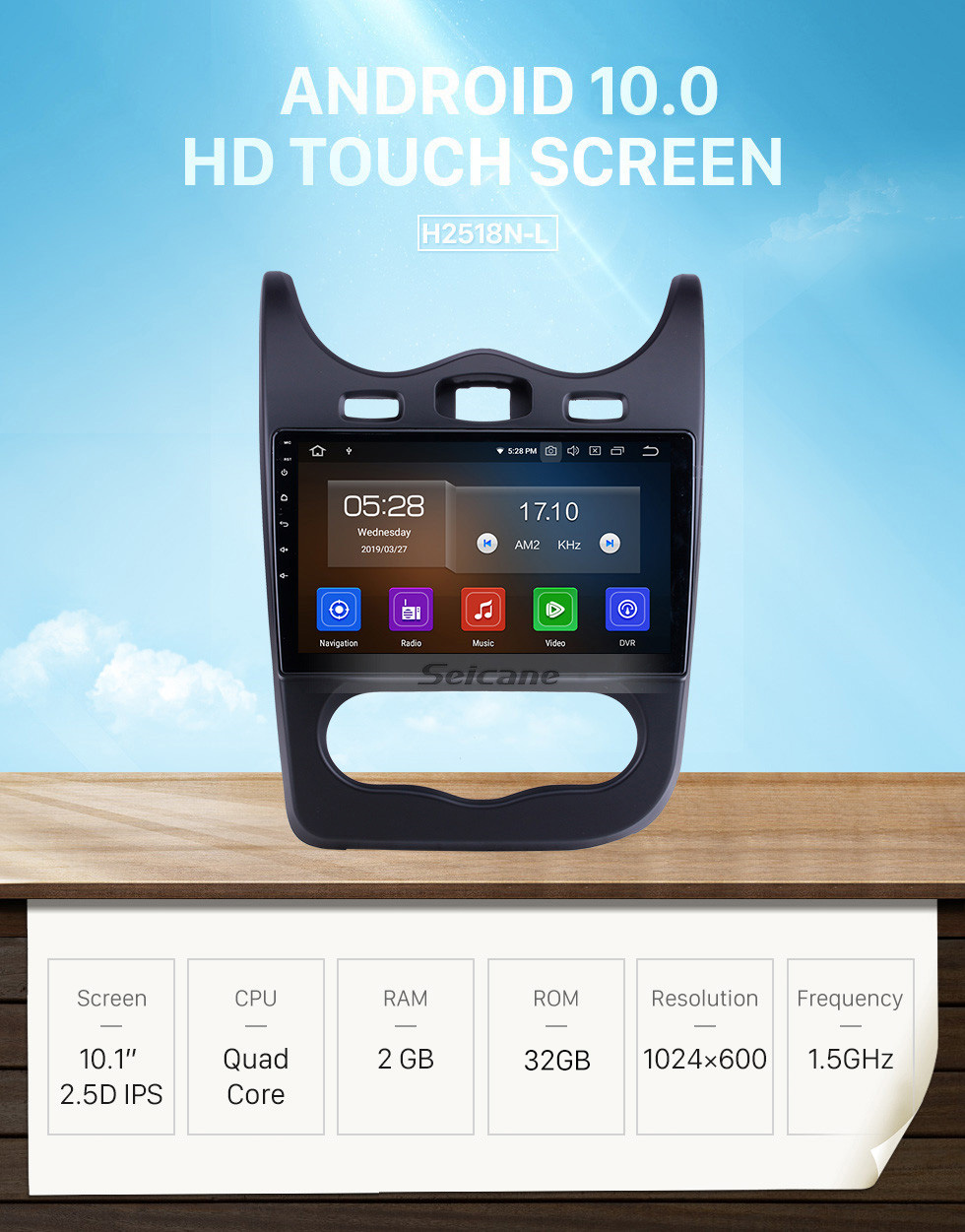 Seicane Android 10.0 For 2014 Renault Sandero Radio 10.1 inch GPS Navigation System Bluetooth HD Touchscreen Carplay support SWC