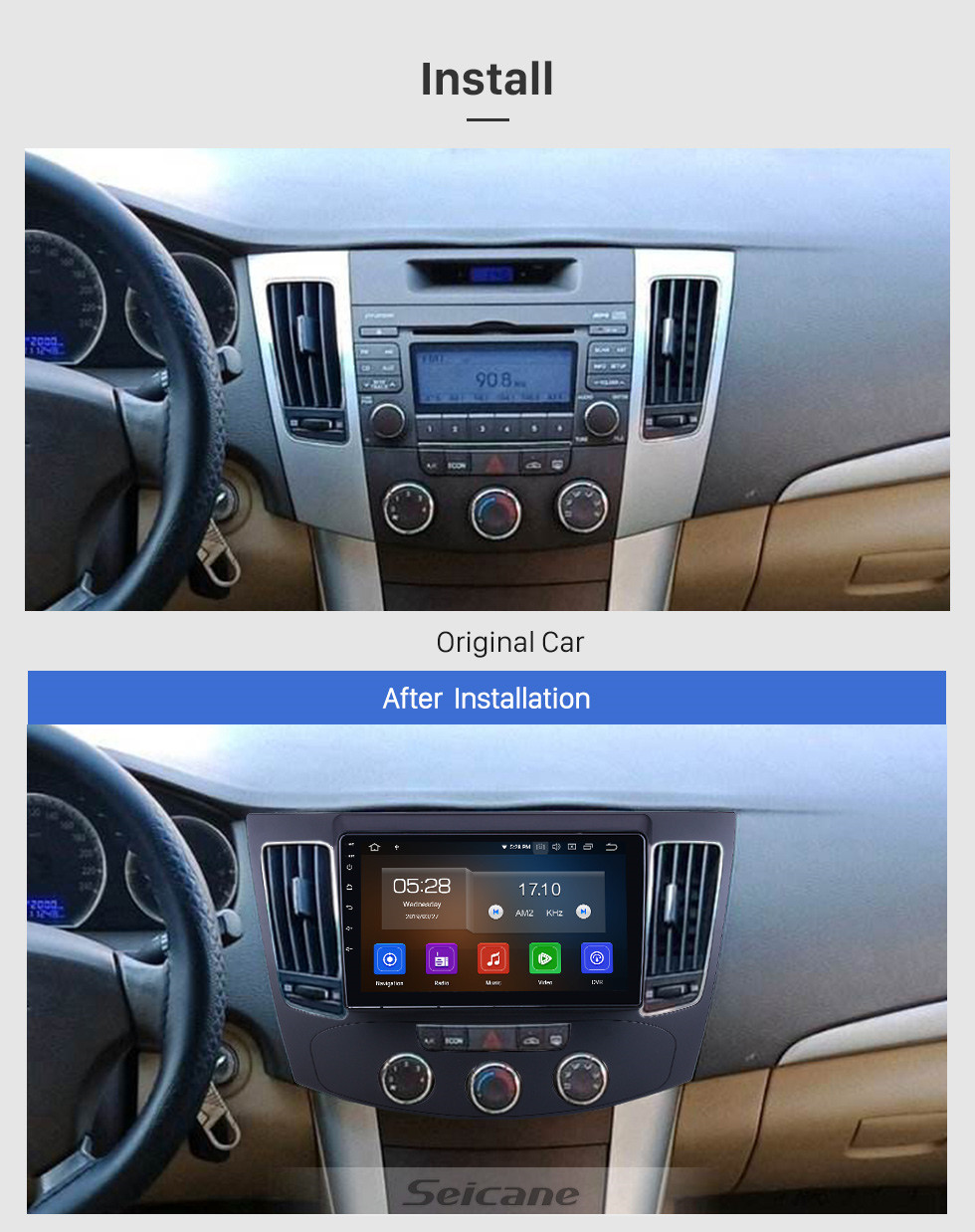 Seicane OEM 9 inch Android 10.0 for 2009 Hyundai Sonata Manual A/C Radio Bluetooth HD Touchscreen GPS Navigation System Carplay support DVR