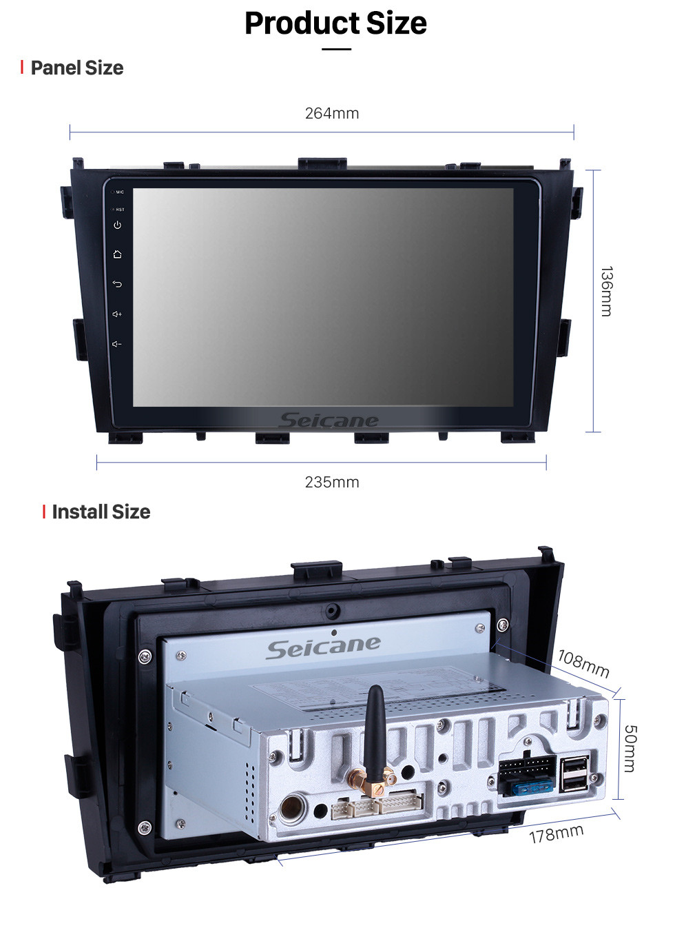 Seicane HD Touchscreen for 2014 Baic Huansu Radio Android 10.0 9 inch GPS Navigation System Bluetooth Carplay support TPMS 1080P Video