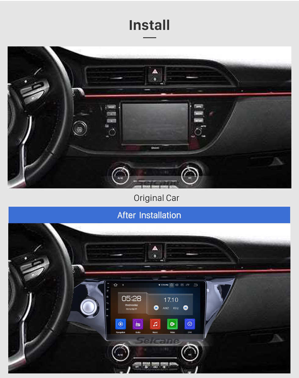 Seicane For 2017 2018 Kia K2 Radio 10.1 inch Android 10.0 HD Touchscreen Bluetooth with GPS Navigation System Carplay support 1080P