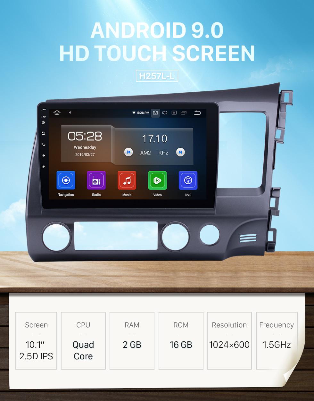 Seicane All-in-One 10,1 Zoll Android 10.0 Radio-Entfernung für 2006-2011 Honda Civic RHD GPS-Headunit 1024 * 600 Kapazitiver Multitouch-Bildschirm Bluetooth-Musik MP3-Spiegelverbindung OBD2 AUX 3G WiFi HD 1080P
