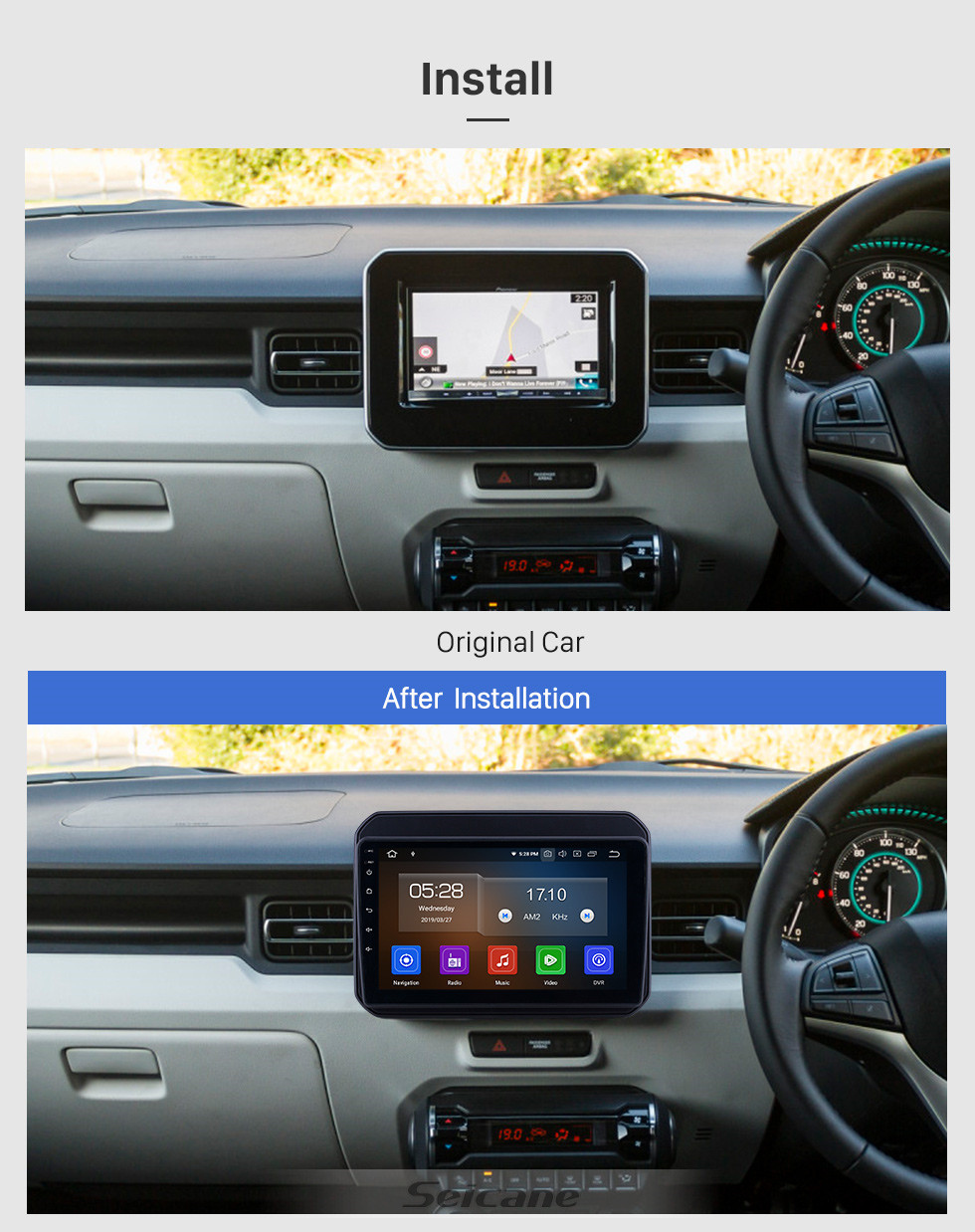 Seicane All in one Android 10.0 9 inch 2016-2019 Suzuki Ignis Radio with GPS Navigation Touchscreen Carplay Bluetooth USB AUX support Mirror Link 1080P Video