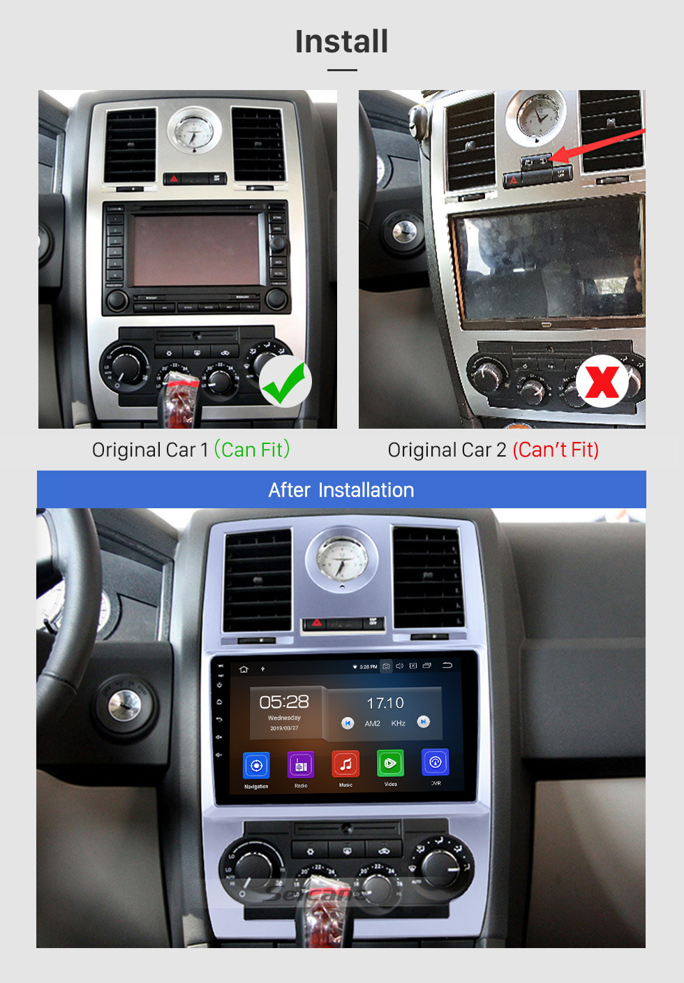 Seicane 2004 2005 2006 2007 2008 Chrysler Aspen 300C 9 inch Android 10.0 GPS Navigation System Auto Radio 1080P HD Touch Screen Bluetooth support OBDII DVR Backup Rearview Camera TV 3G WIFI
