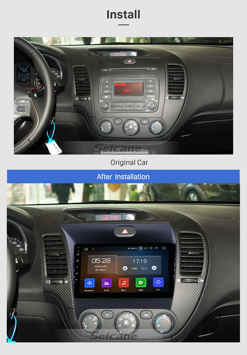 Seicane 9 inch Android 10.0 For 2013 2014 2015 2016 Kia K3 LHD GPS Navigation System Radio with HD Touch Screen Bluetooth support 3G Backup Camera Carplay