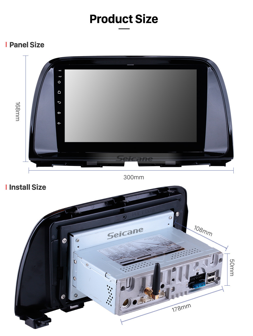 Seicane 9 polegadas OEM Android 10.0 Rádio GPS Sistema de navegação Para 2012 2013 2014 2015 MAZDA CX-5 com tela de toque capacitivo Bluetooth TPMS DVR OBD II Câmera traseira AUX 3G WiFi HD 1080P Vídeo Controle de encosto de cabeça Controle USB SD