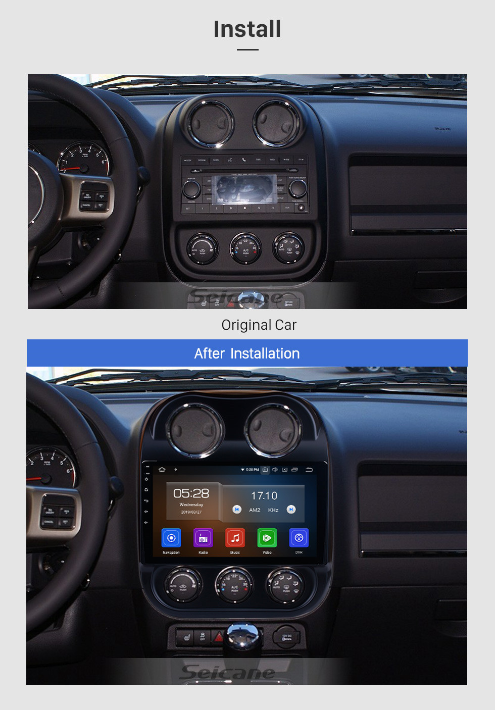 Seicane 10.1 pulgadas Android 10.0 Pantalla táctil radio Bluetooth Sistema de navegación GPS para 2014 2015 Jeep Compass compatible TPMS DVR OBD II USB SD 3G WiFi Cámara trasera Control del volante HD 1080P Video AUX
