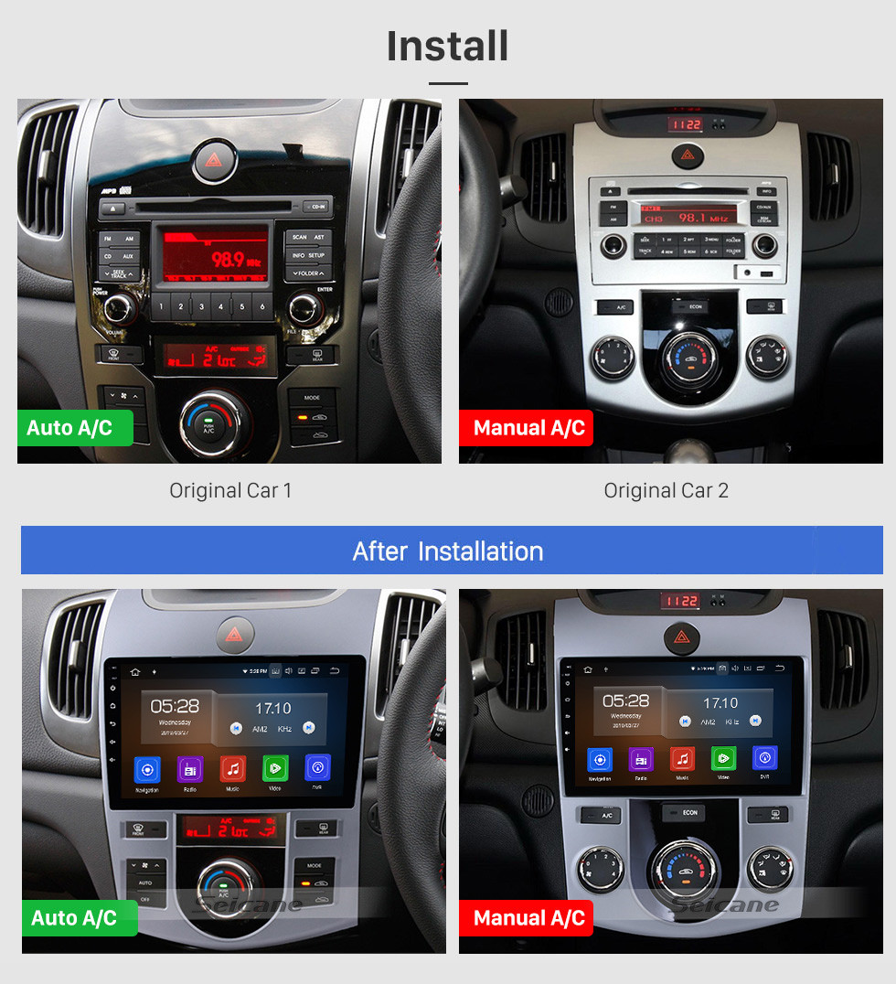 Seicane 9 inch for 2008-2012 KIA FORTE/CERATO (AT) Auto Air-Conditioner version Android 10.0 Radio GPS Navigation system 1080P Video Bluetooth Music USB Rearview Camera 4G WIFI OBD2 Mirror Link