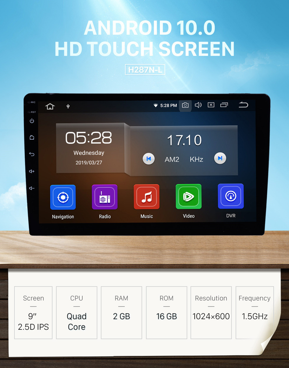 Seicane Universal 9 inch HD Touch Screen Android 10.0 Radio GPS Navigation system with Bluetooth Music WIFI Steering Wheel Control support 4G USB Carplay DVD Player