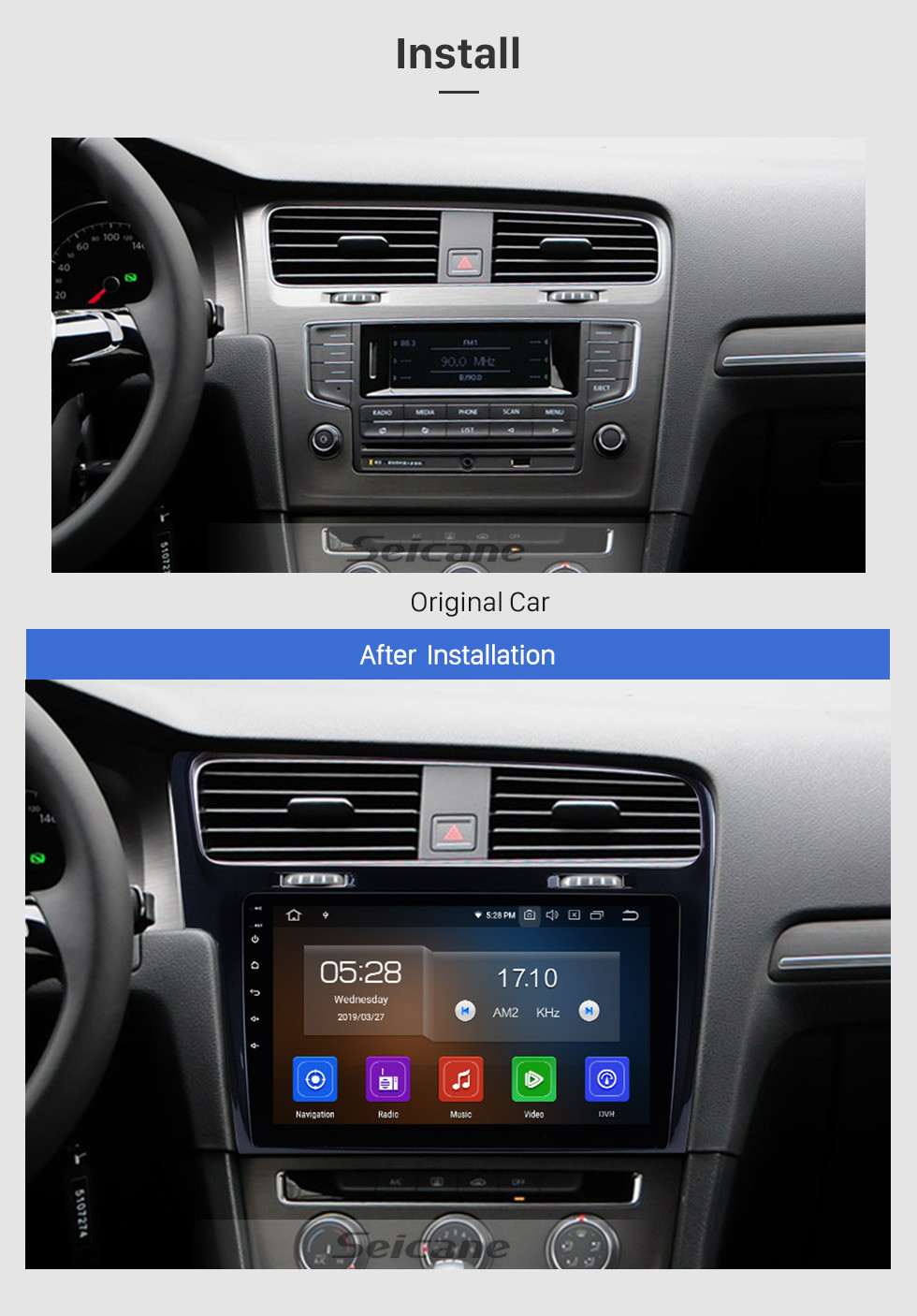 Seicane 10.1 inch For 2013 2014 2015 VW Volkswagen Golf 7 Android 10.0 Radio GPS Navigation Car stereo with 1024*600 Touchscreen Mirror Link OBD2 Steering Wheel Control Rearview Camera