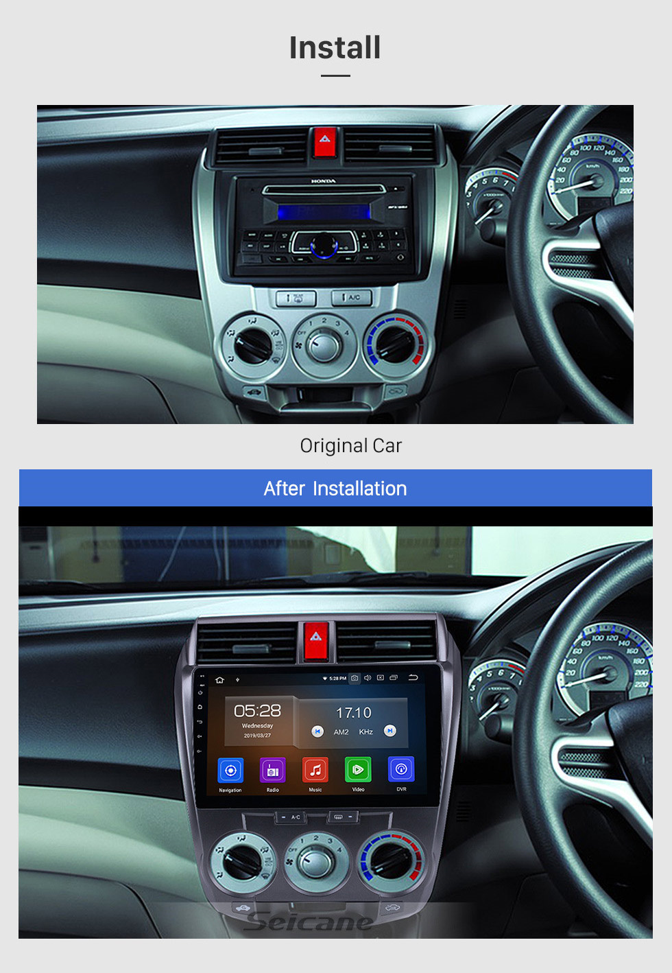 Seicane 10.1 Inch For 2008-2013 Honda CITY Android 10.0 Radio GPS Navigation Car stereo with 1024*600 Touch Screen 4G WIFI Bluetooth OBD2 TPMS Backup Camera Steering Wheel Control Digital TV DVR
