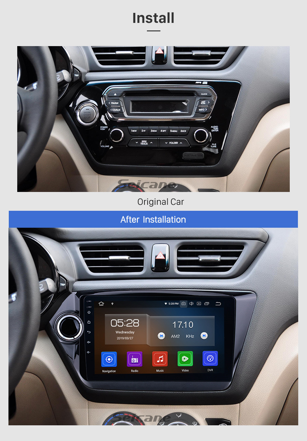 Seicane For 2011 2012 2013 2014 2015 Kia K2 RIO 9 inch Android 10.0 Car GPS Navigation System HD Touchscreen Radio AM FM Bluetooth Mirror Link support  CD DVD Player OBD2 3G WiFi