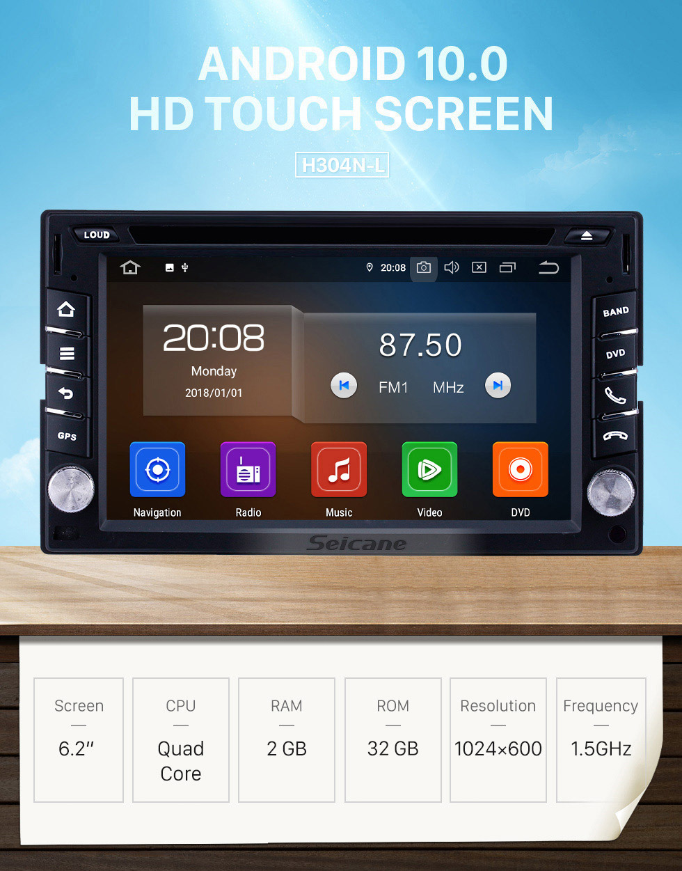 Seicane Universal 6.2 inch GPS Navigation Radio Android 10.0 Bluetooth HD Touchscreen AUX Carplay Music support 1080P Digital TV Rearview camera OBD2