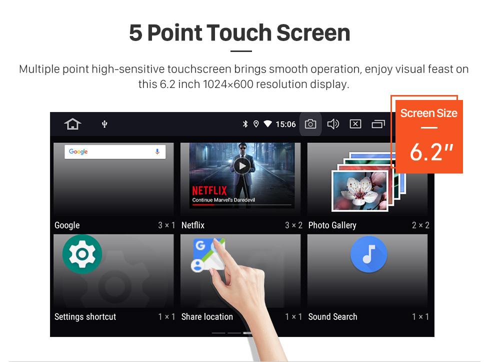 Seicane Android 10.0 6.2 pouces Navigation GPS Radio universelle avec WIFI Bluetooth HD Écran tactile AUX Carplay Music support 1080P Digital TV Mirror Link
