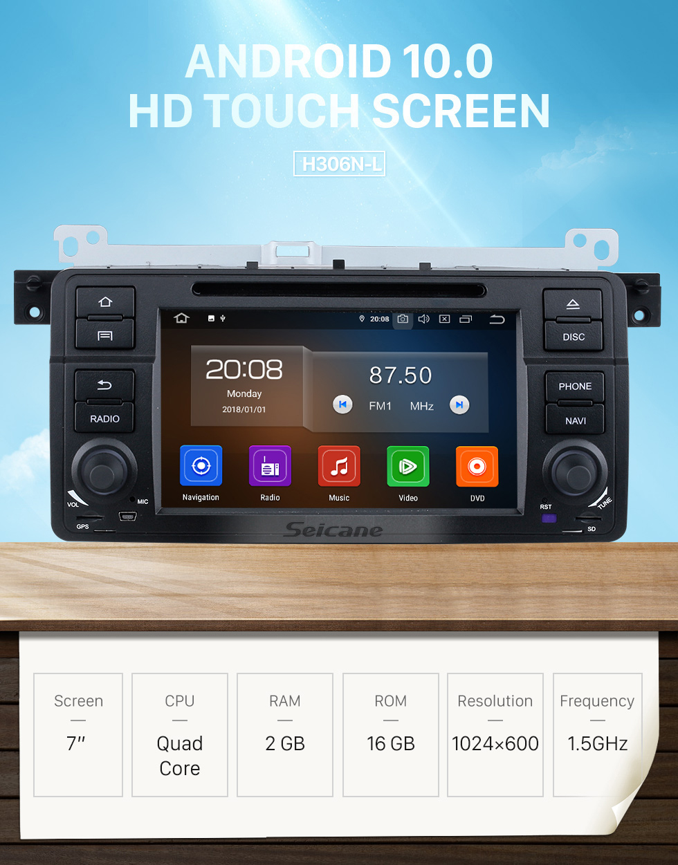 Seicane 7 inch Android 10.0 GPS Navigation Radio for 1999-2004 MG ZT with HD Touchscreen Carplay Bluetooth Music WIFI AUX support OBD2 SWC DAB+ DVR TPMS