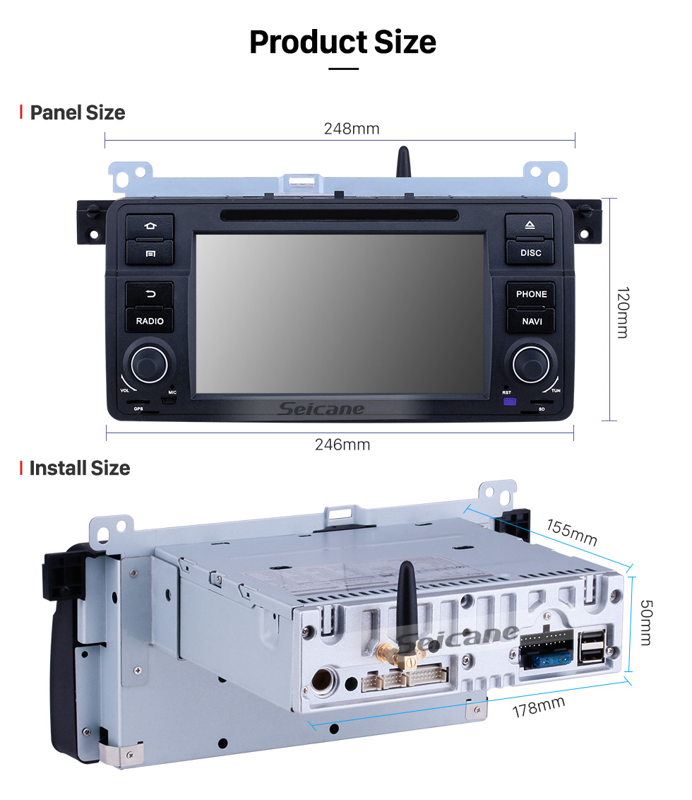 Seicane 7 Zoll Android 10.0 GPS Navigationsradio für 1998-2006 BMW 3er E46 M3 mit HD Touchscreen Carplay Bluetooth Musik USB Unterstützung Mirror Link Backup Kamera