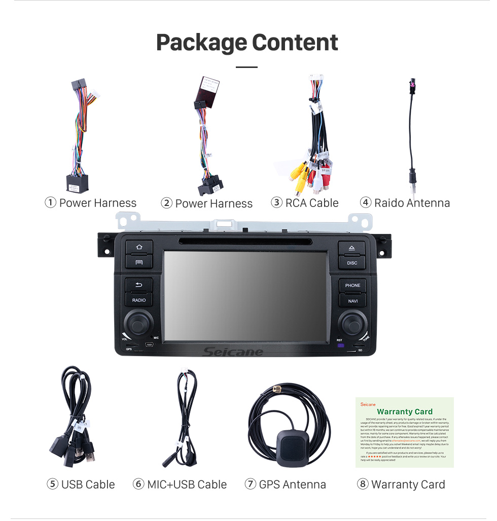 Seicane 7 inch Android 10.0 GPS Navigation Radio for 1998-2006 BMW 3 Series E46 M3 with HD Touchscreen Carplay Bluetooth Music USB support Mirror Link Backup camera