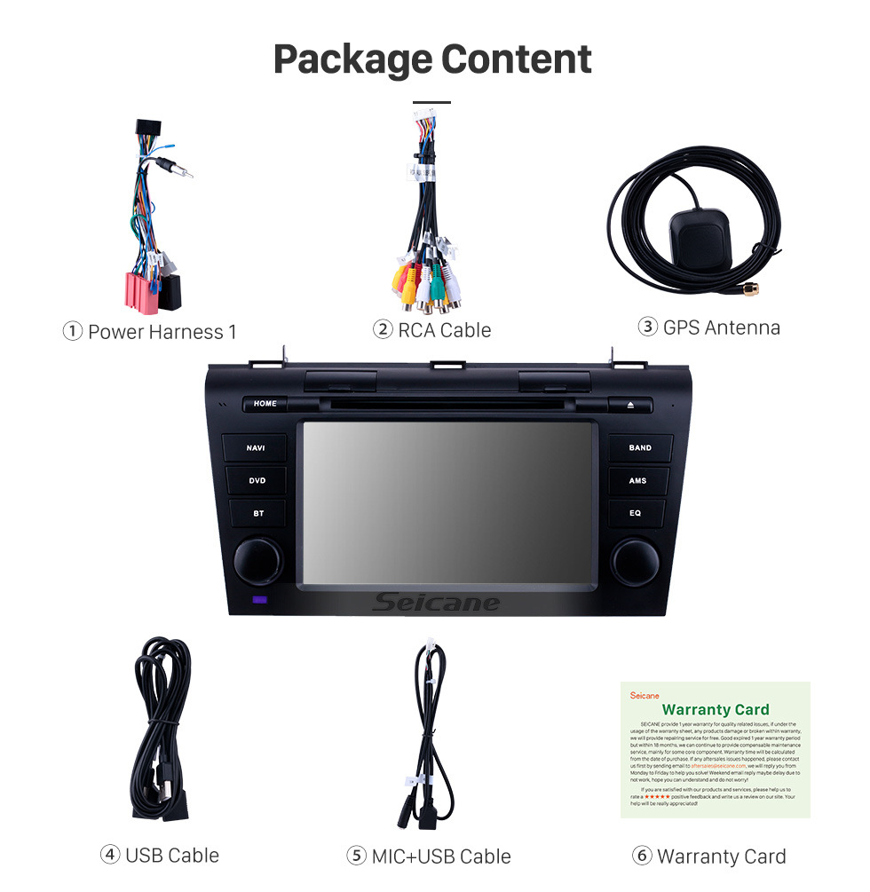 Seicane 7 inch Android 10.0 GPS Navigation Radio for 2007-2009 Mazda 3 with HD Touchscreen Carplay Bluetooth support Rear camera Digital TV