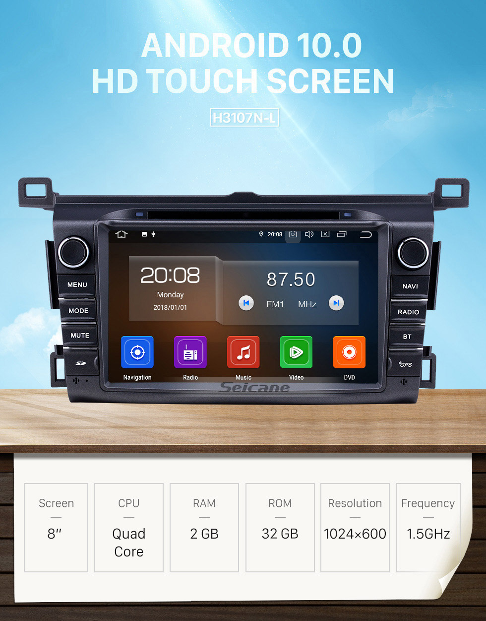 Seicane 8 inch Android 10.0 GPS Navigation Radio for 2013-2016 Toyota RAV4 with Carplay Bluetooth WIFI USB support Mirror Link