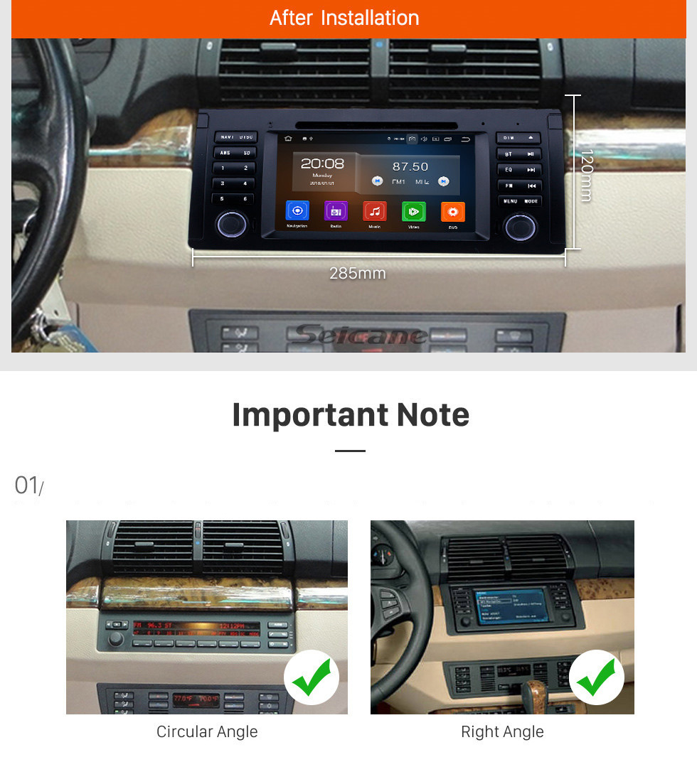 Seicane 7 inch Android 10.0 GPS Navigation Radio for 1996-2003 BMW 5 Series E39 with Bluetooth Wifi HD Touchscreen Carplay support Digital TV OBD2