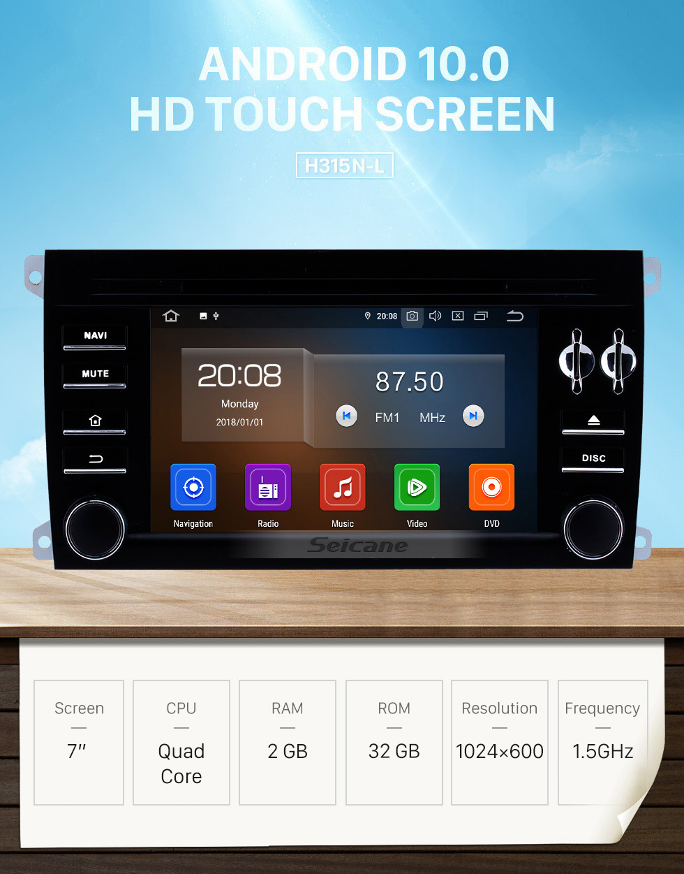 Seicane HD 1024*600 touchscreen 2003-2011 Porsche Cayenne Android 10.0 Radio Replacement with Aftermarket GPS DVD Player 3G WiFi Bluetooth Music Mirror Link OBD2 Backup Camera DVR AUX MP3 MP4 HD 1080P