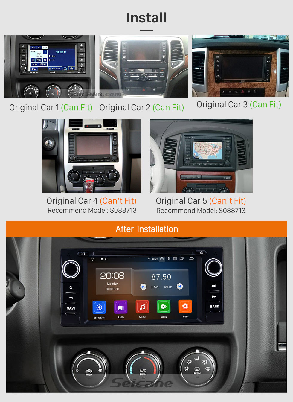 Seicane 6.2 inch 2005-2011 Jeep Grand Cherokee/Wrangler/Compass/Commander Android 10.0 GPS Navigation Radio Bluetooth Touchscreen Carplay support Backup camera