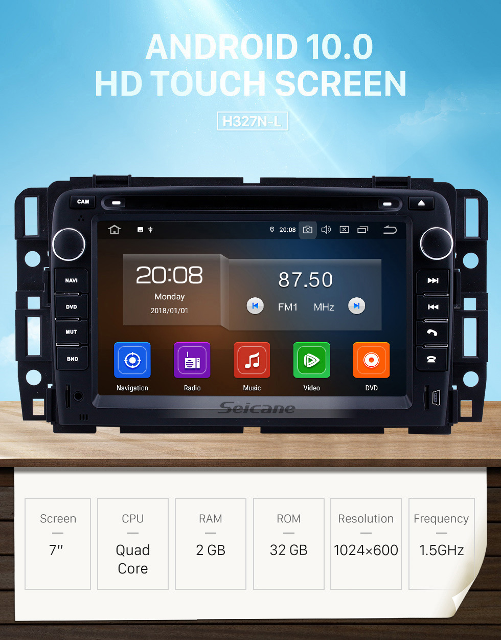 Seicane 2 Din Android 10.0 Radio Head Unit for 2009 2010 2011 GMC Chevy Chevrolet Express VAN Traverse with HD 1024*600 touchscreen GPS Sat Nav DVD Player Audio System WiFi Bluetooth Mirror Link 1080P Video