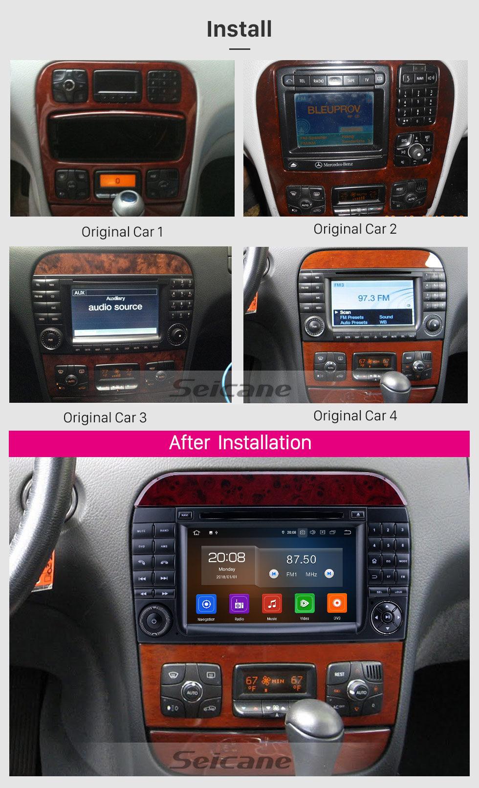 Seicane Android 10.0 1998-2005 Mercedes Benz S Class W220 / S280 / S320 / S320 CDI / S400 CDI / S350 / S430 / S500 / S600 / S55 AMG / S63 AMG / S65 AMG Radio de navegación GPS con pantalla táctil HD de 7 pulgadas con Carplay Soporte Bluetooth Bluetooth DVR