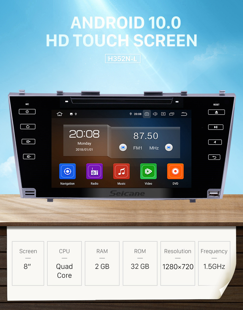 Seicane 8 inch 2007-2011 Toyota Camry Android 10.0 GPS Navigation Radio Bluetooth HD Touchscreen AUX Carplay Music support 1080P Digital TV Rear camera