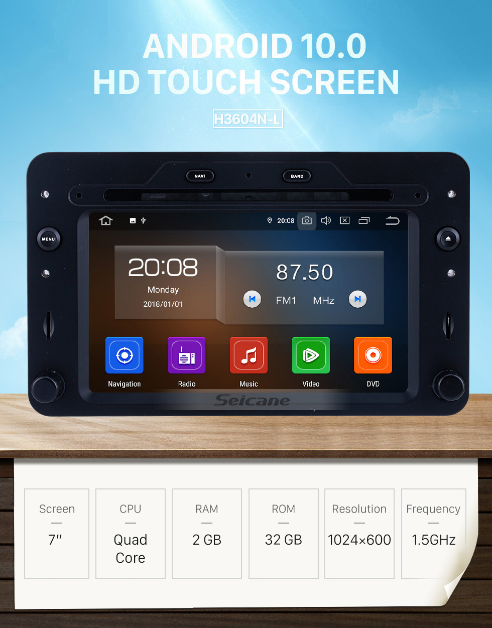 Seicane OEM 7 inch Android 10.0 for 2005 onwards Alfa Romeo 159 Radio Bluetooth HD Touchscreen GPS Navigation System Carplay support DVR 1080P
