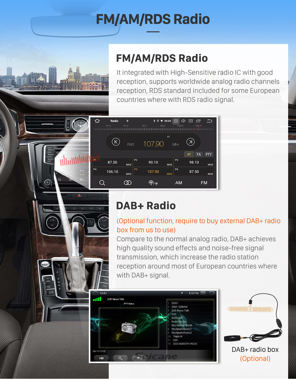 Seicane OEM 7 pouces Android 10.0 à partir de 2005 Alfa Romeo 159 Radio Bluetooth HD Système de navigation GPS à écran tactile Support Carplay DVR 1080P