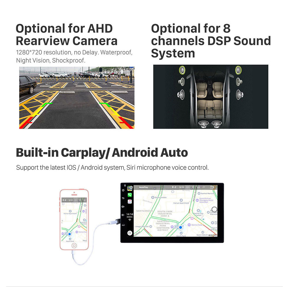 Seicane HD Touchscreen 8 inch Android 10.0 for 2011 2012 2013 Ford Focus with GPS Navigation System Radio Carplay Bluetooth support Digital TV
