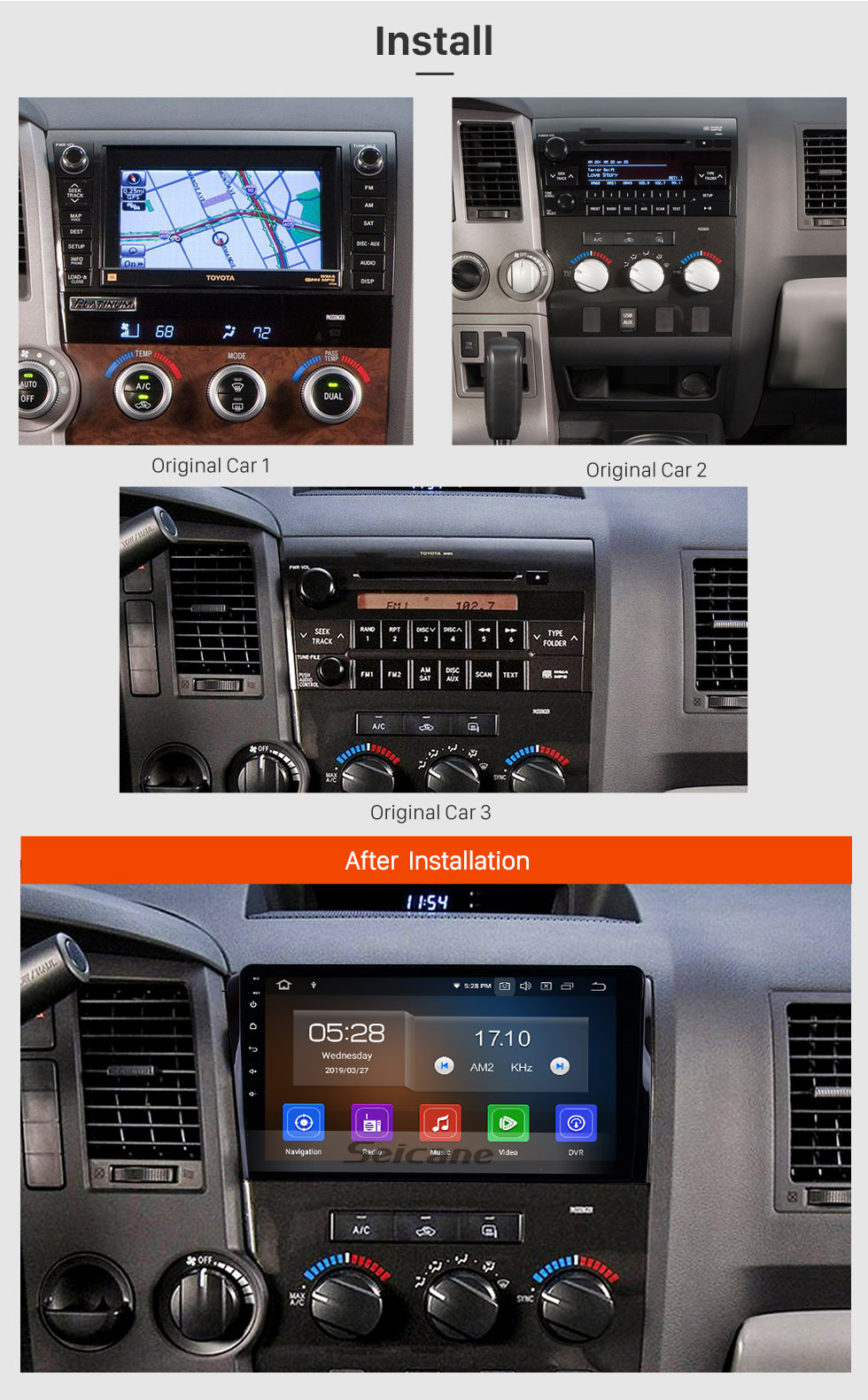 Seicane 2006-2014 Toyota Sequoia HD Touchscreen 10,1 Zoll Android 9,0 GPS Navigationsradio mit USB Bluetooth AUX Unterstützung 3G Digital TV Backup Kamera TPMS