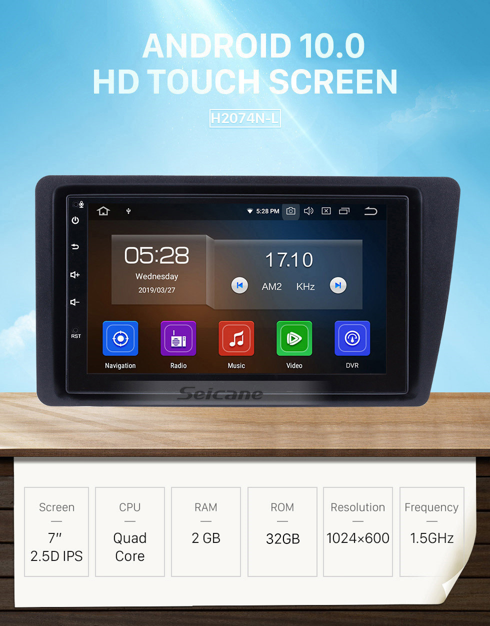 Seicane 7 inch Android 10.0 Car Stereo GPS Navigation System for 2001-2005 Honda Civic with WiFi Bluetooth 1080P HD Touchscreen AUX FM support Mirror Link OBD2 SWC