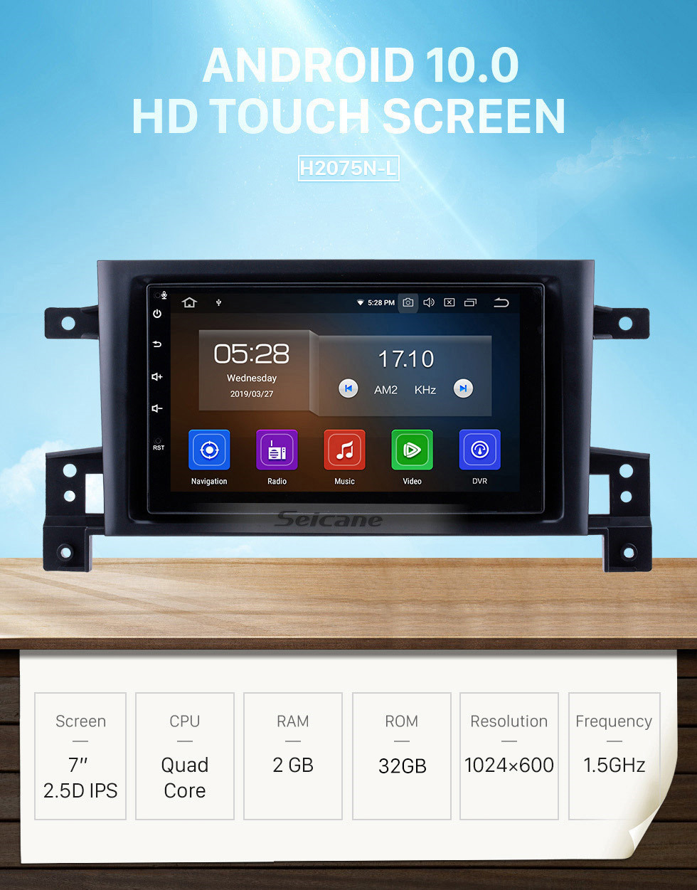 Seicane 7 inch OEM Android 10.0 Radio GPS Navigation system for 2005-2013 Suzuki Vitara Bluetooth Mirror link Touch Screen Steering Wheel control WIFI support OBD2 DVD player DVR Backup camera
