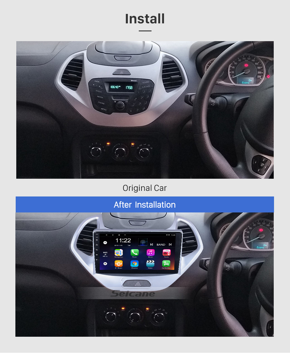 Seicane OEM 9 inch Android 10.0 for 2019 Ford Figo Radio with Bluetooth HD Touchscreen GPS Navigation System support Carplay TPMS