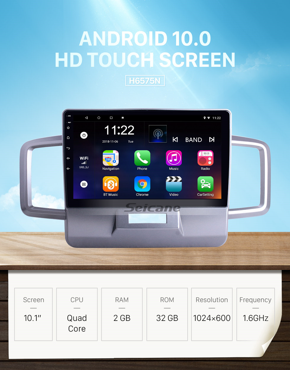 Seicane OEM 10.1 inch Android 10.0 for 2011 2012 2013 2014 Honda Freed Radio with Bluetooth HD Touchscreen GPS Navigation System support Carplay